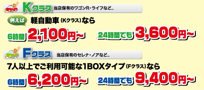 軽自動車なら6時間2100円~、24時間でも3600円~。1BOX(セレナ・ノアなど)6時間6200円~、24時間でも9400円~